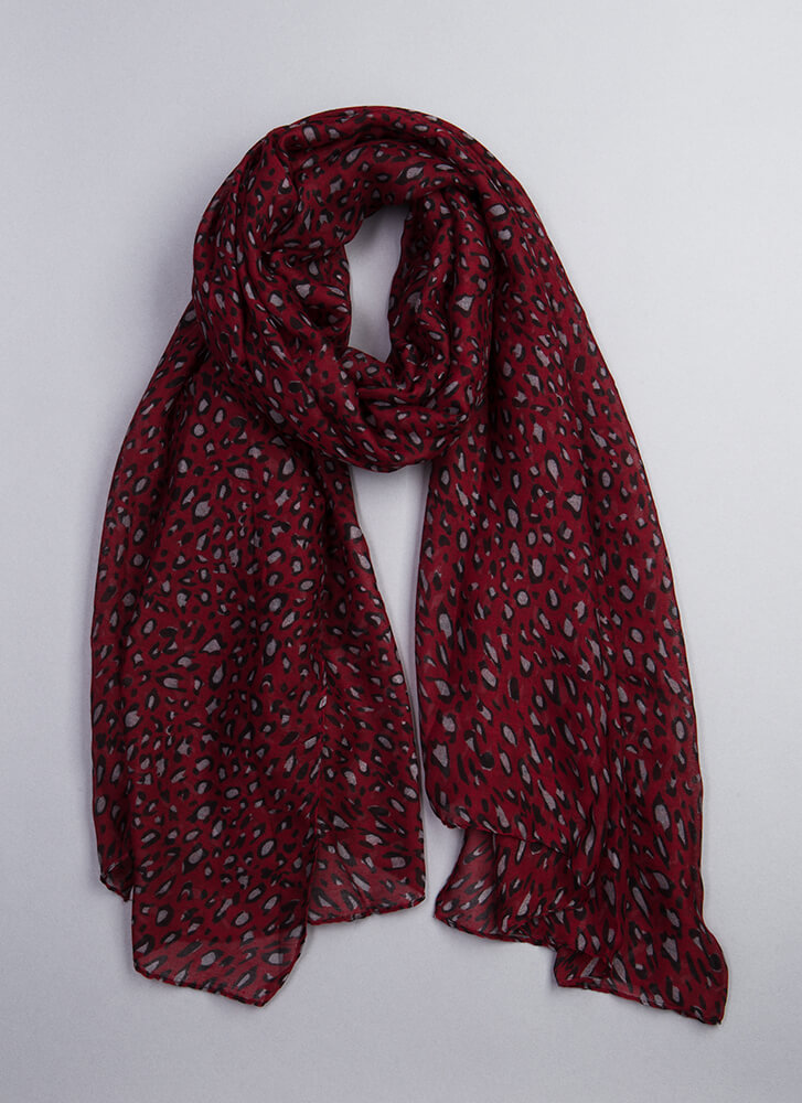 Out In The Wild Leopard Print Scarf BURGUNDY