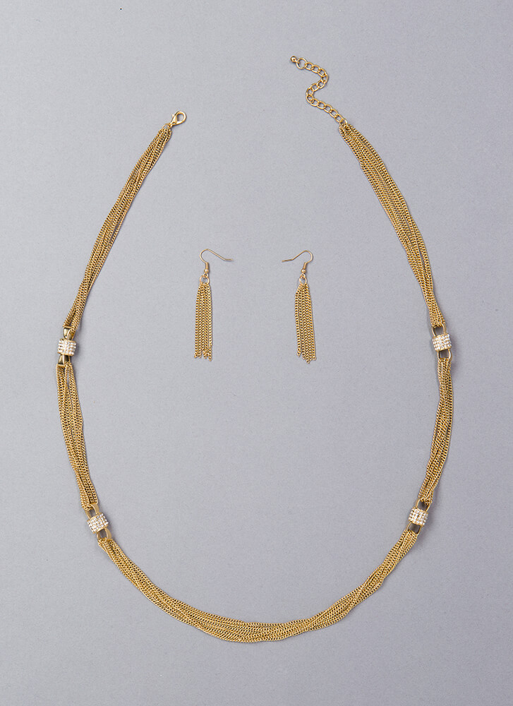 Luxe Life Jeweled Chain Necklace Set GOLD