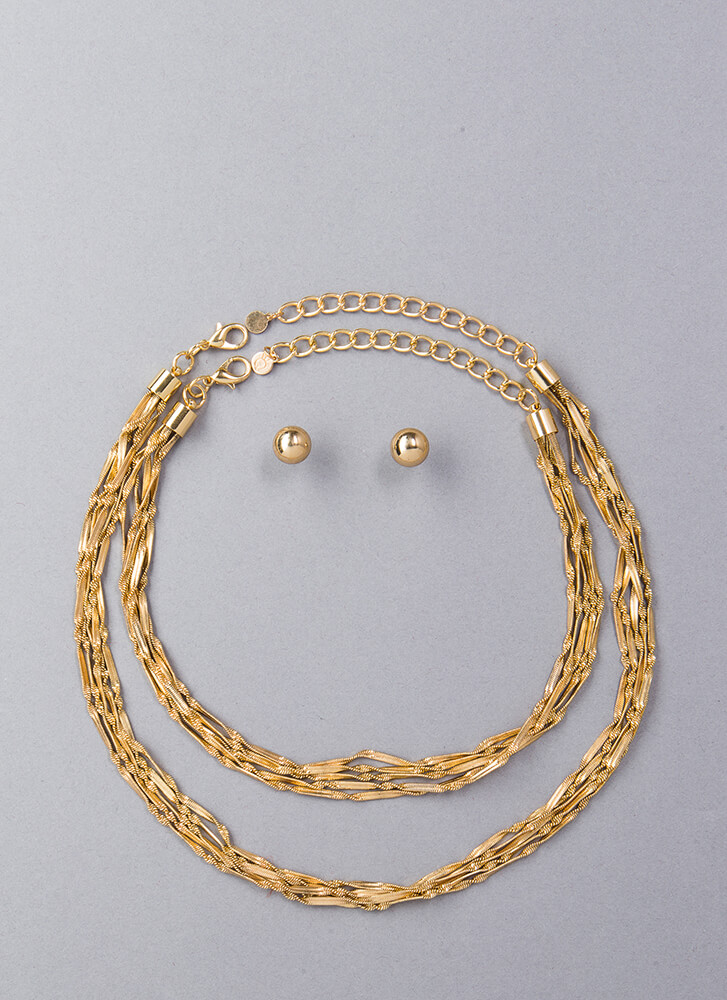 With A Twist Rope Chain Necklace Set GOLD (Final Sale)