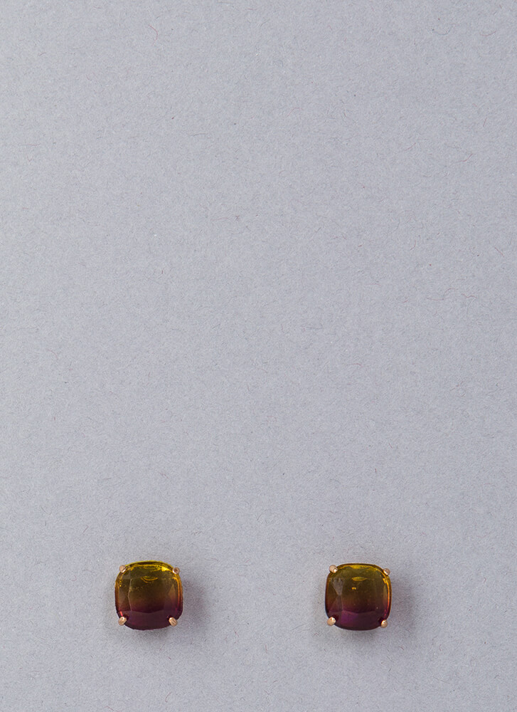 Square Off Ombre Faux Gem Earrings YELLOWPURP