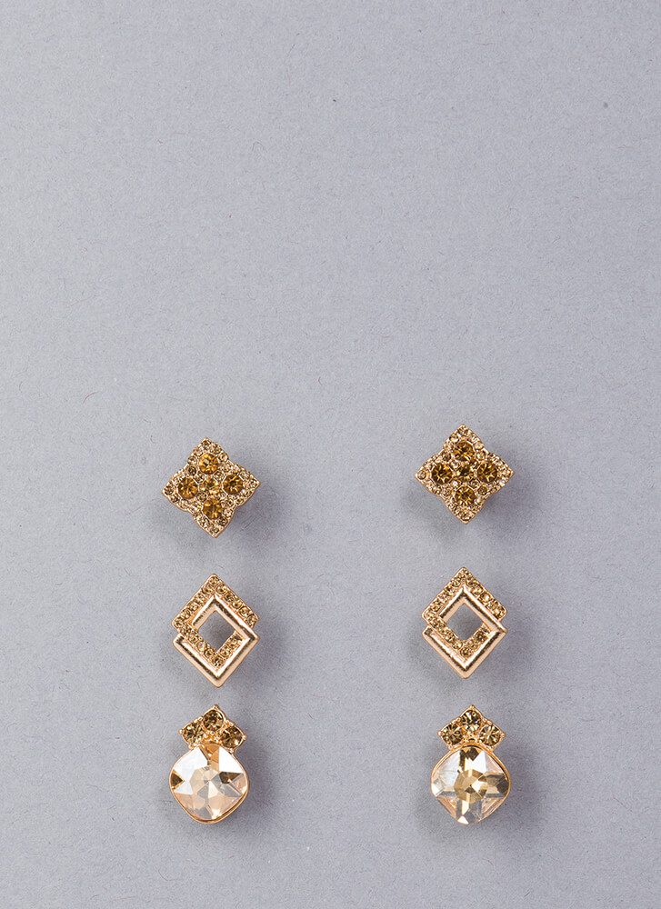 Diamond Suit Jeweled Earring Set GOLD