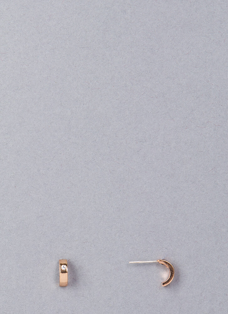 Half-Moon Rising Jeweled Earrings ROSEGOLD