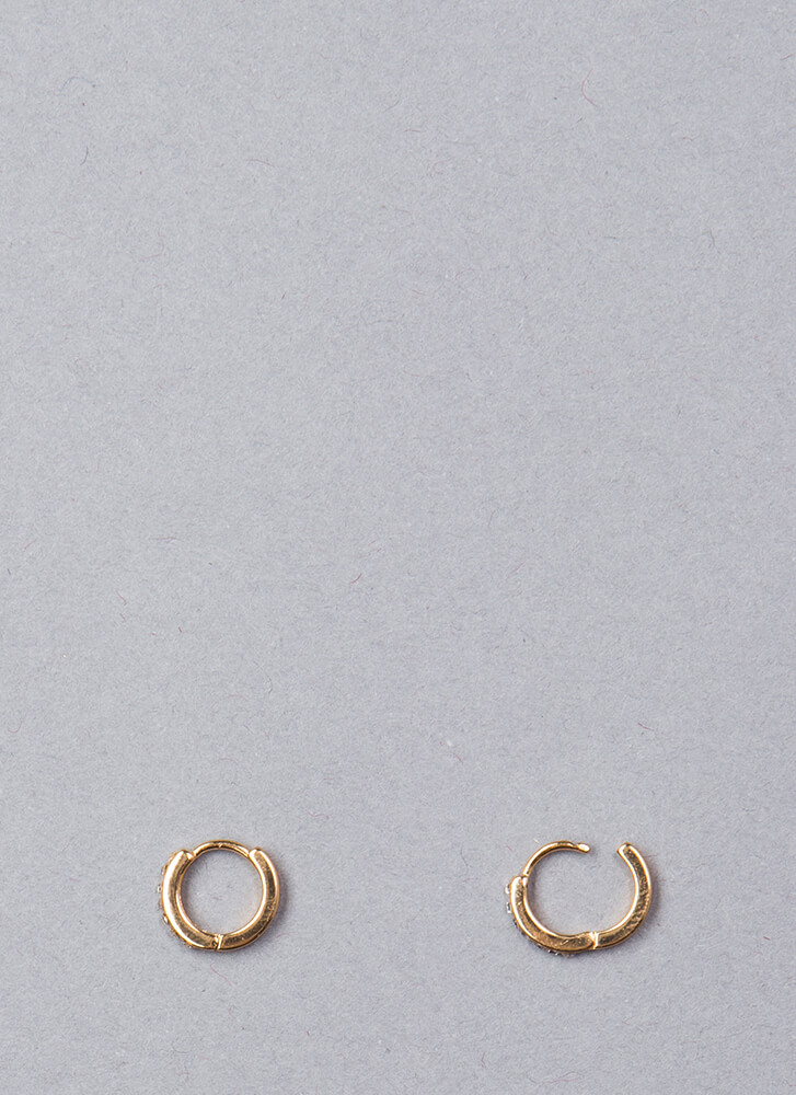 Small Compromise Jeweled Hoop Earrings GOLD