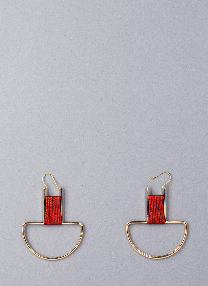 String Along Thread-Wrapped Earrings GOLDRED