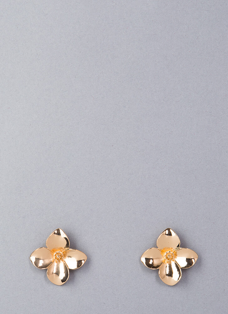 Pretty Petals Shiny Flower Earrings GOLD
