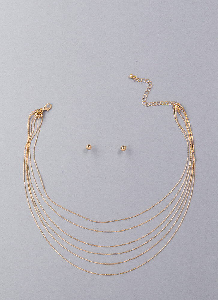 Snake Out Cobra Chain Necklace Set GOLD