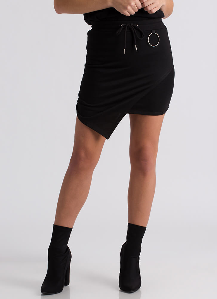 Ring Me Up Asymmetrical Drawstring Skirt BLACK