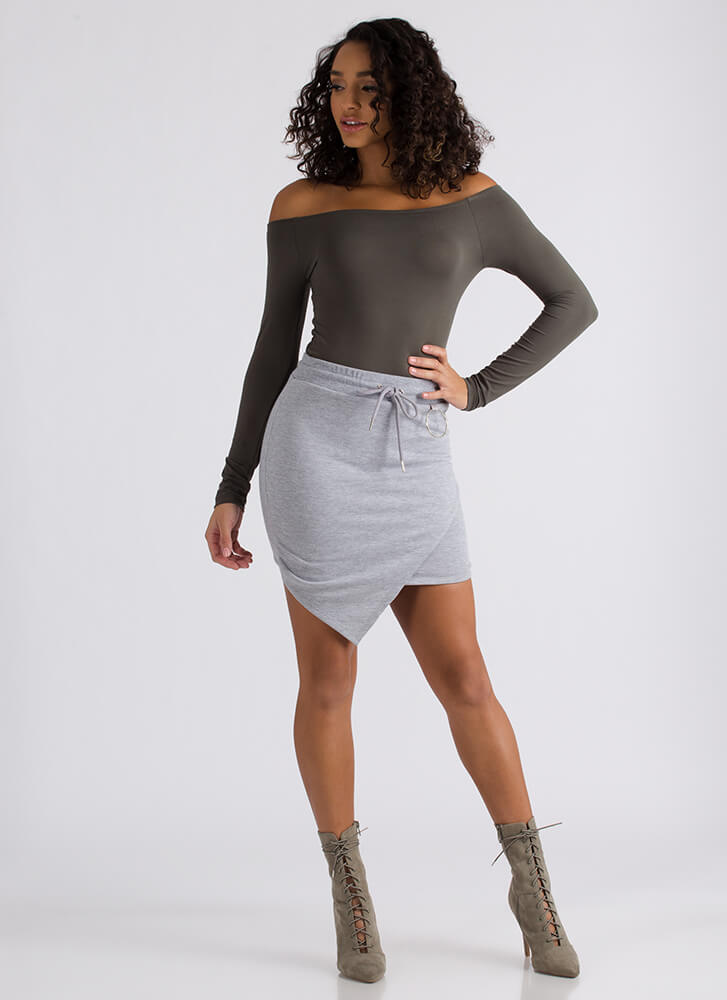 Ring Me Up Asymmetrical Drawstring Skirt GREY