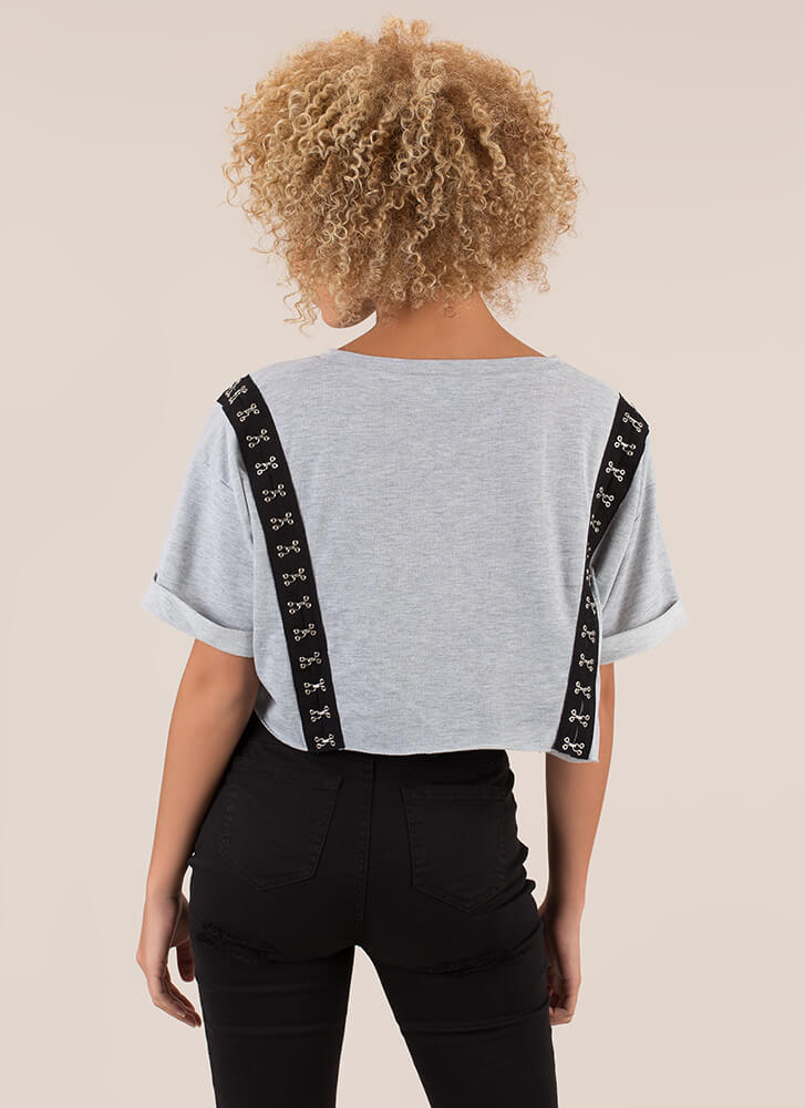 Totally Hooked Oversized Crop Top GREY