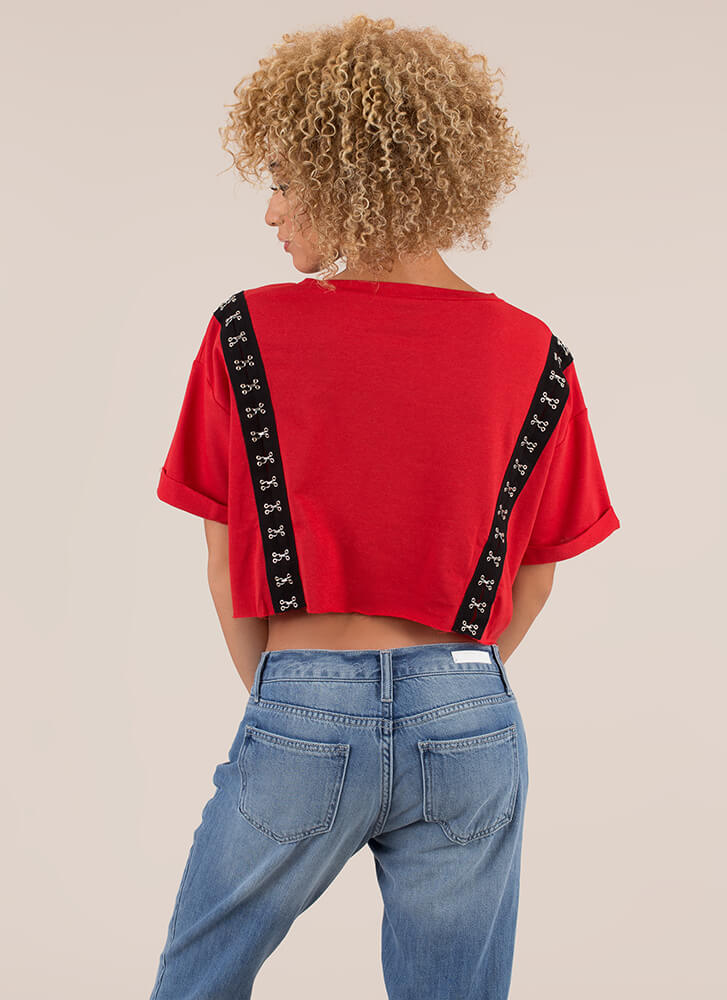 Totally Hooked Oversized Crop Top RED