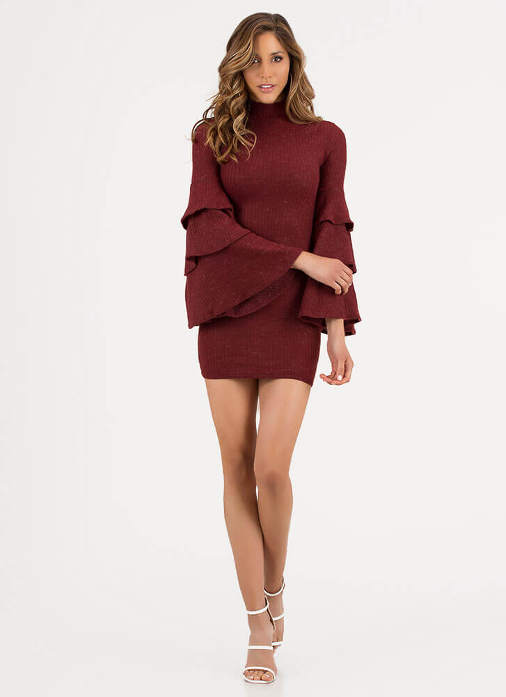 Tiering Up Ribbed Ruffle Sleeve Dress BURGUNDY
