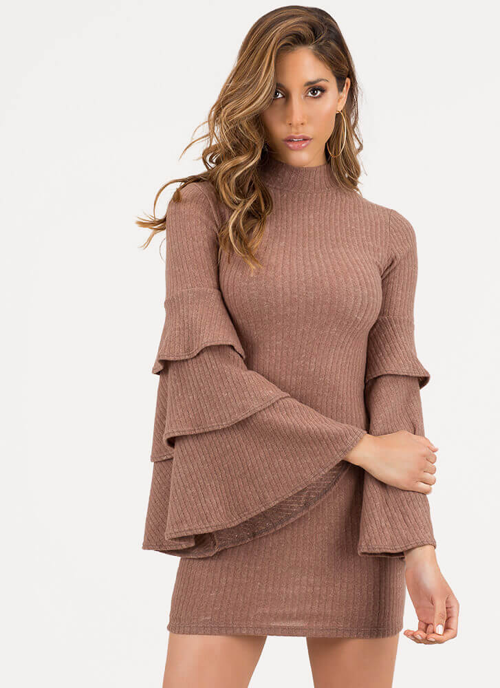 Tiering Up Ribbed Ruffle Sleeve Dress MOCHA