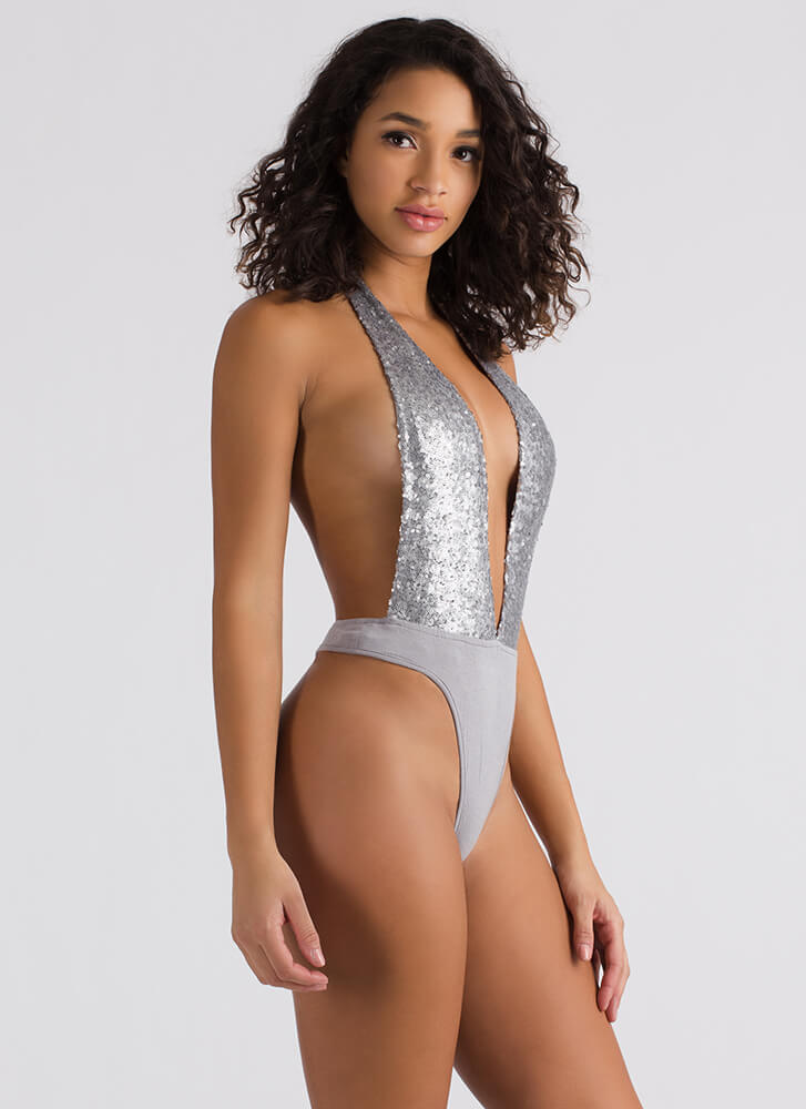 Sequin Party Plunging Thong Bodysuit SILVER
