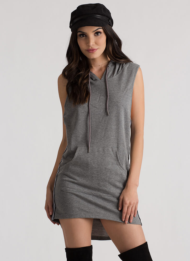 Sport This Striped Hoodie Tank Dress GREY