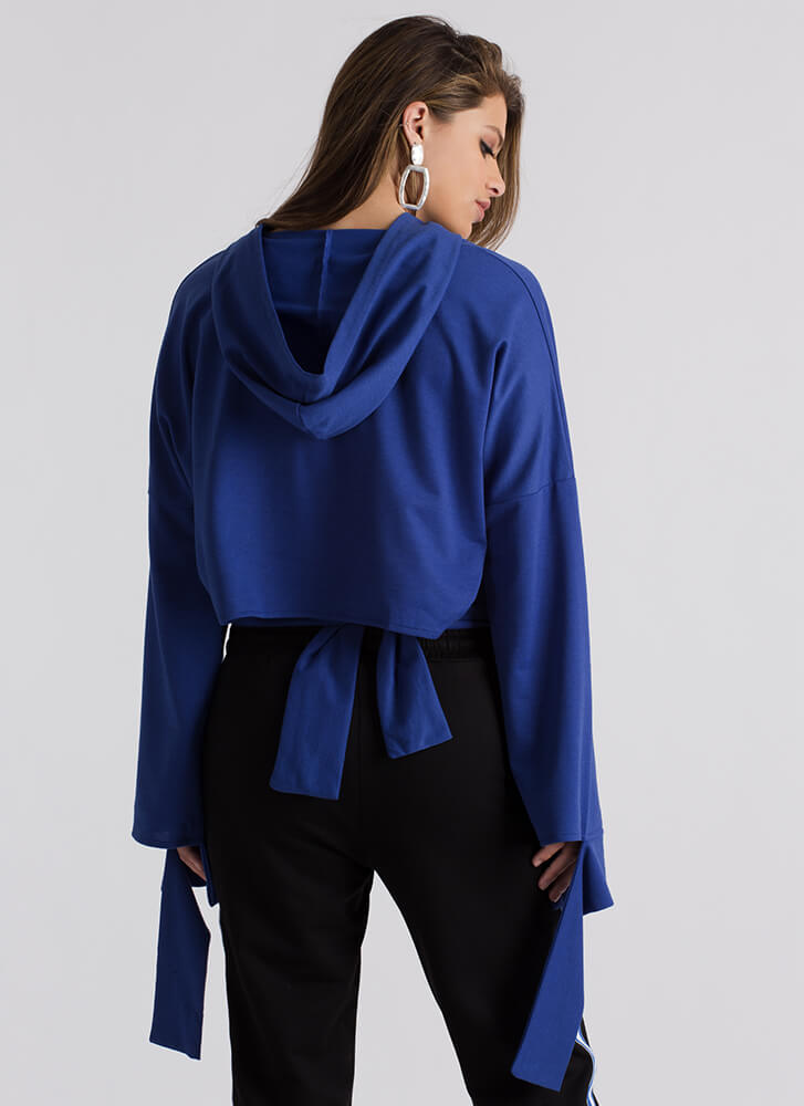 Coming Undone Tied Back Cropped Hoodie BLUE