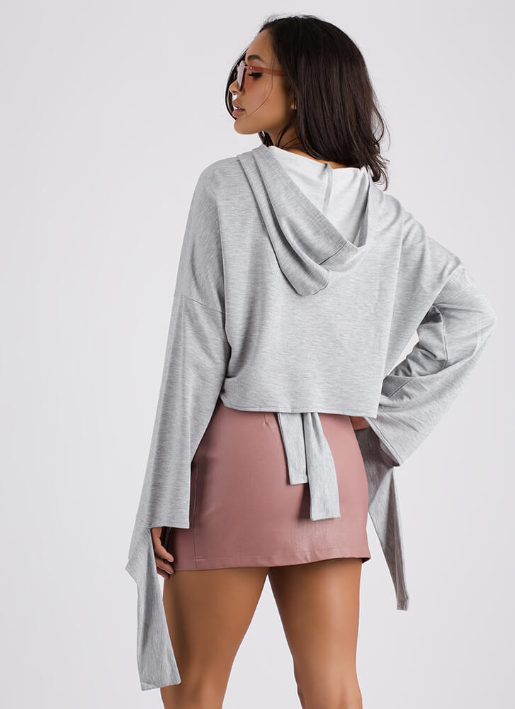 Coming Undone Tied Back Cropped Hoodie HGREY