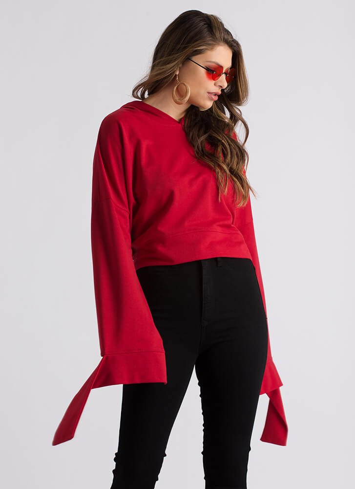 Coming Undone Tied Back Cropped Hoodie RED