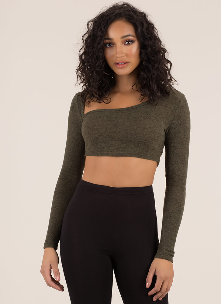 Soft Touch Asymmetrical Marled Knit Top OLIVE