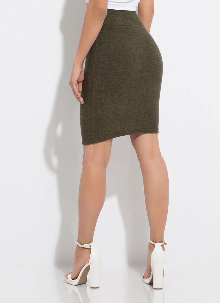 Soft Touch Marled Knit Pencil Skirt OLIVE