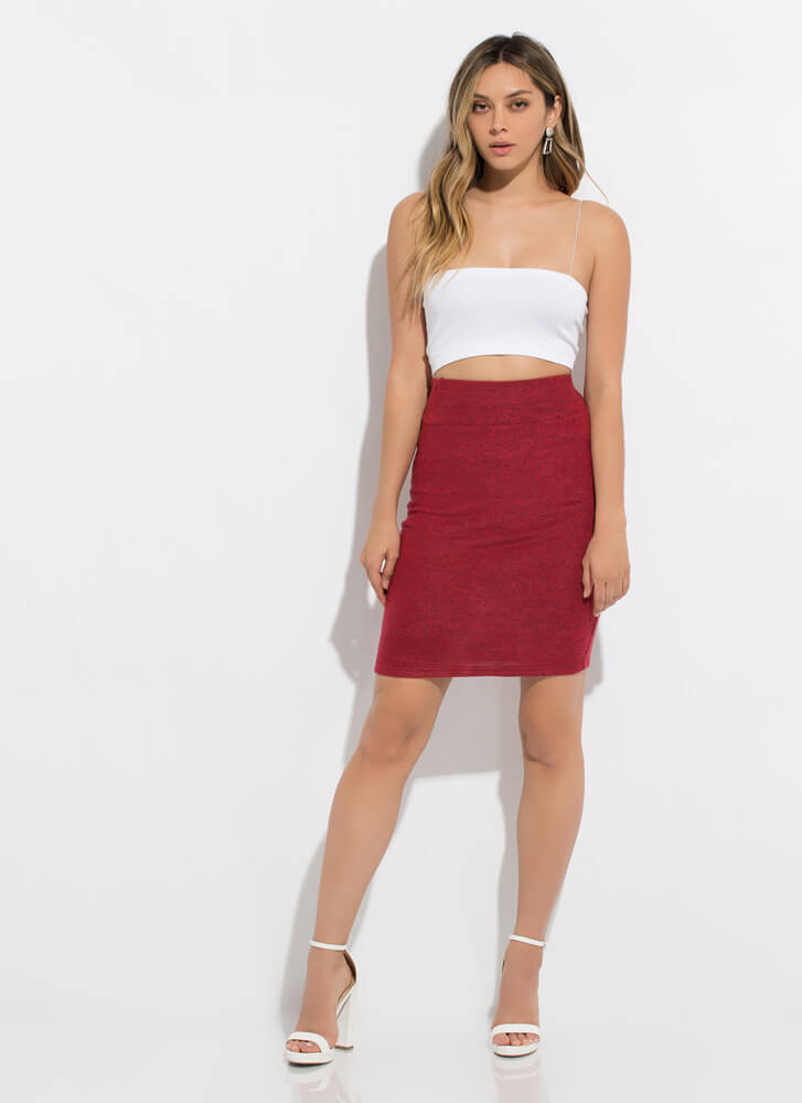 Soft Touch Marled Knit Pencil Skirt RED