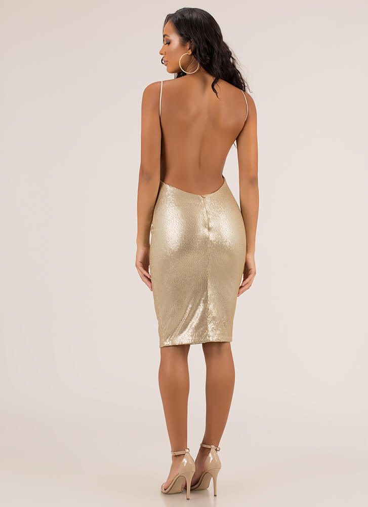 Plunge Party Sequined Open Back Dress GOLD
