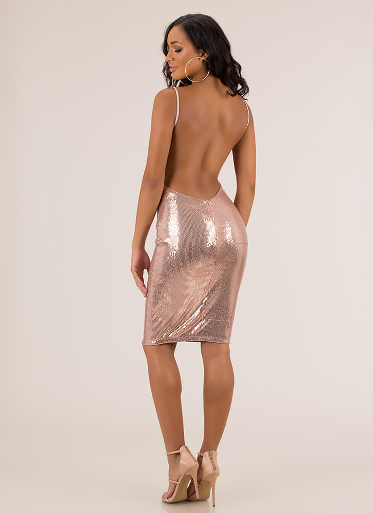 Plunge Party Sequined Open Back Dress ROSEGOLD