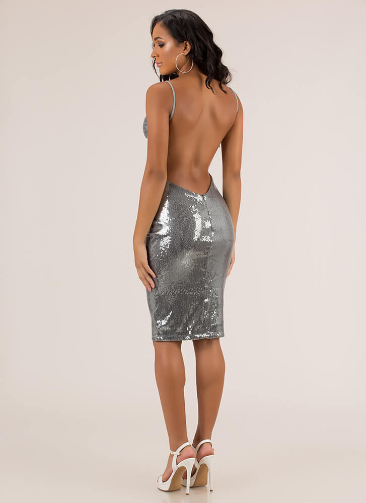 Plunge Party Sequined Open Back Dress SLATE