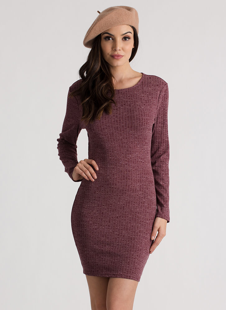 Turn Around Ruched Open Back Dress BURGUNDY