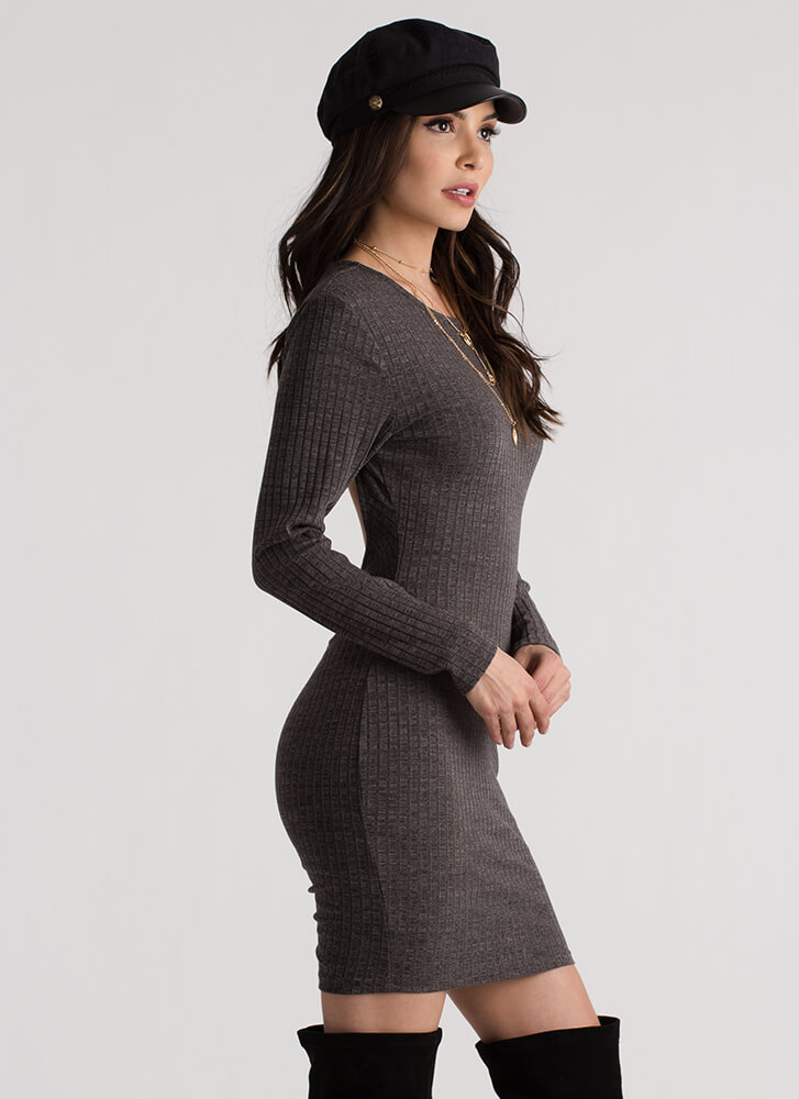 Turn Around Ruched Open Back Dress GREY