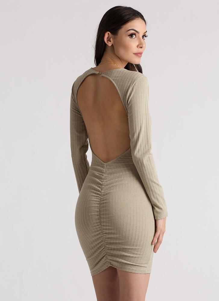 Turn Around Ruched Open Back Dress SAGE