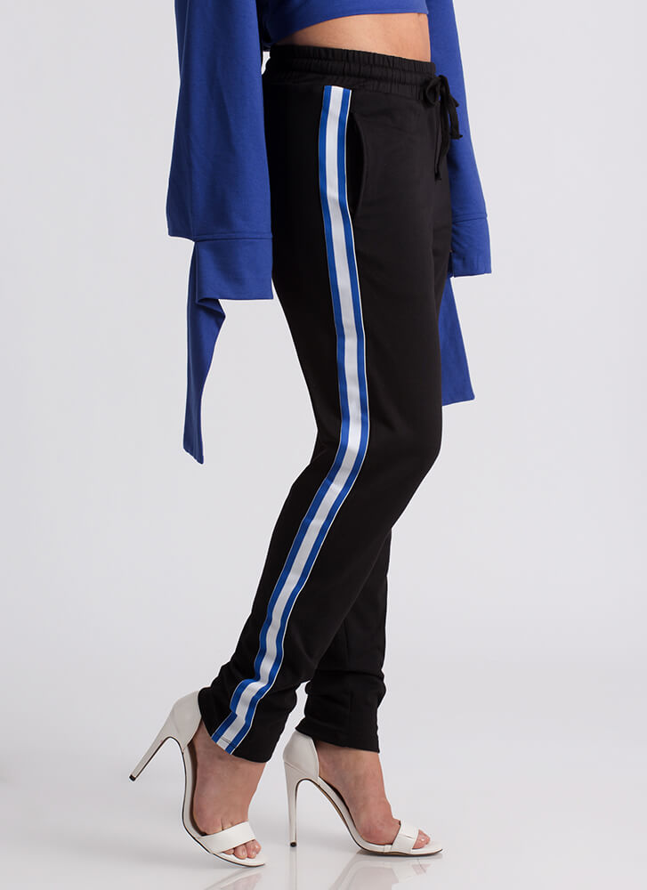 Lined Up Side-Striped Sweatpant Joggers BLACK