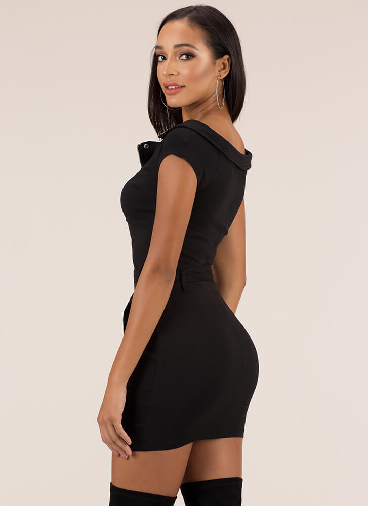 Missing Moto Belted Zipper Dress BLACK
