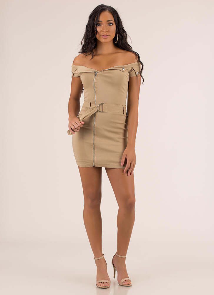 Missing Moto Belted Zipper Dress TAN