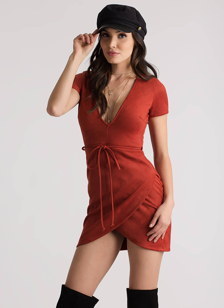 Tied And True Faux Suede Minidress RUST (Final Sale)