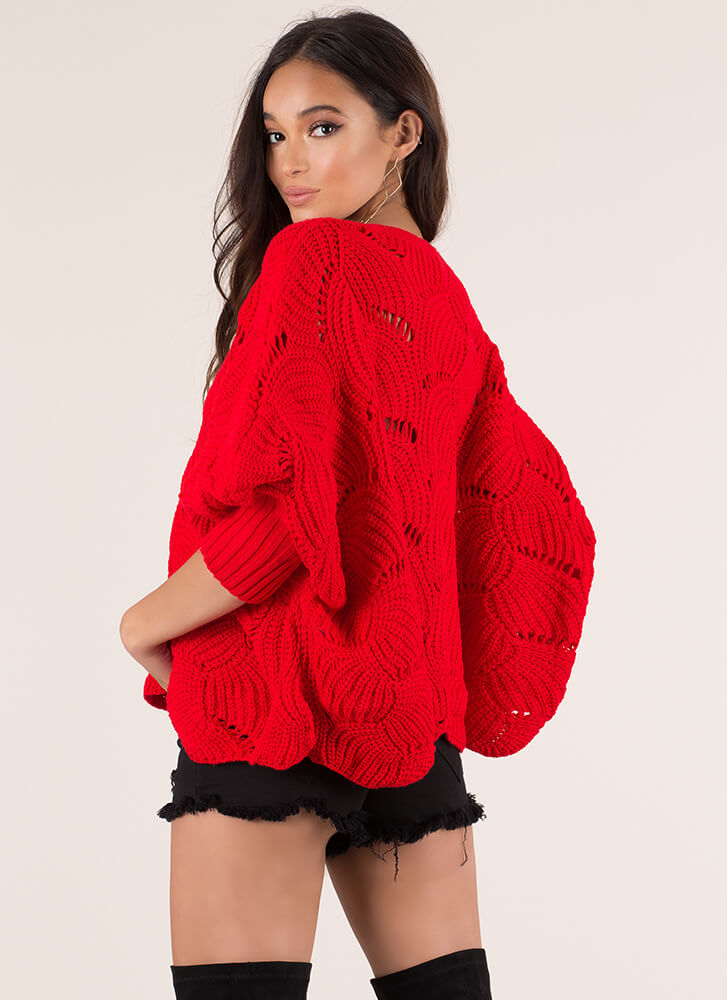 Shell To The Yeah Knit Poncho Sweater RED