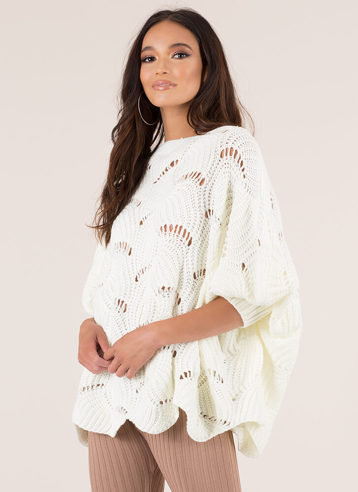 Shell To The Yeah Knit Poncho Sweater WHITE