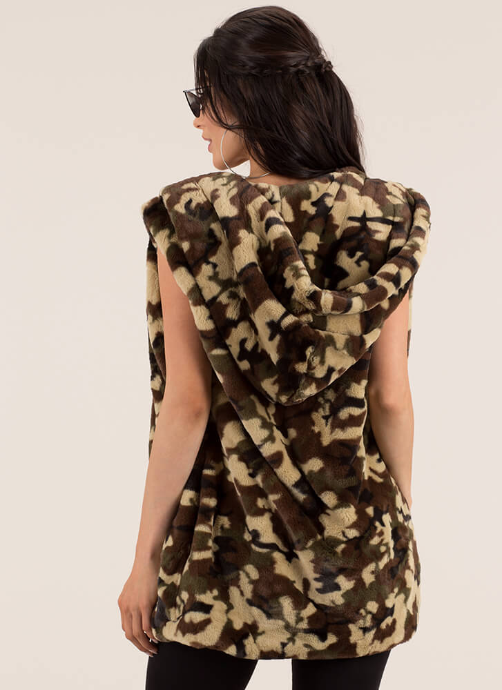 Caught In Camo Hooded Faux Fur Vest CAMOUFLAGE (Final Sale)