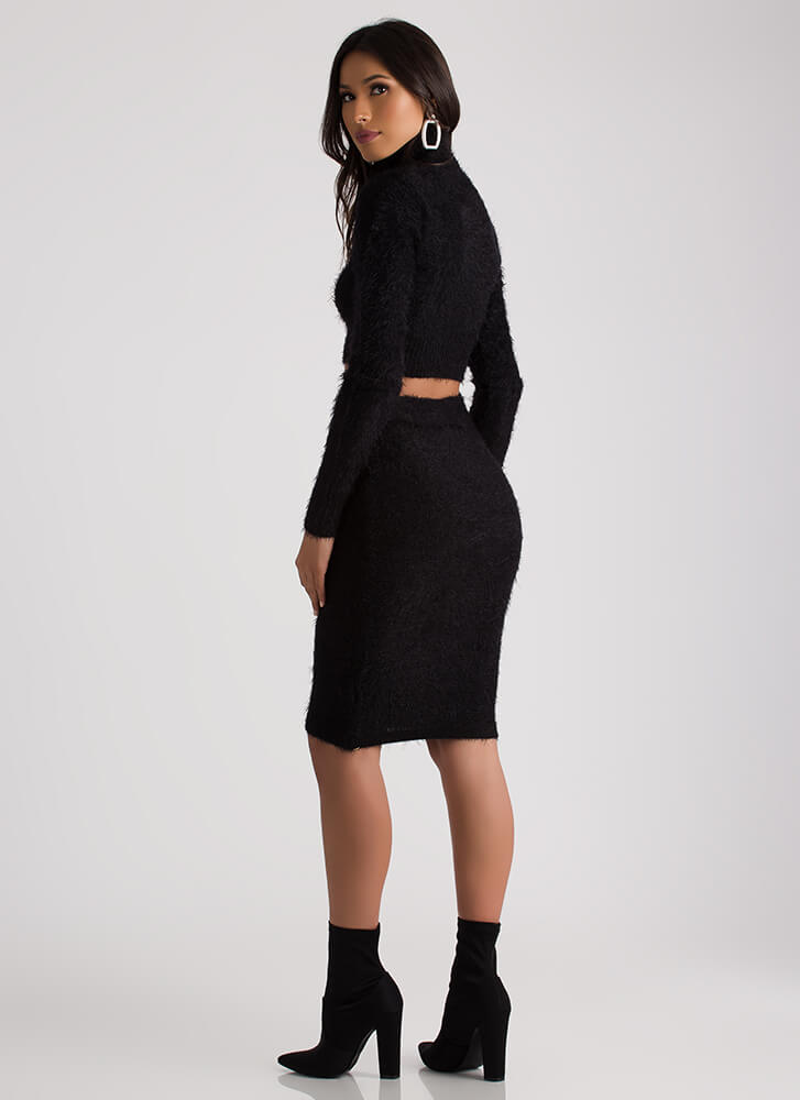 Warm And Fuzzy Sweater And Skirt Set BLACK