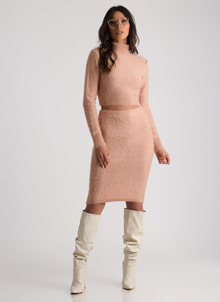 Warm And Fuzzy Sweater And Skirt Set PINK