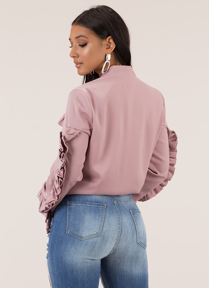 Frill Of The Chase Ruffled Satin Jacket PINK