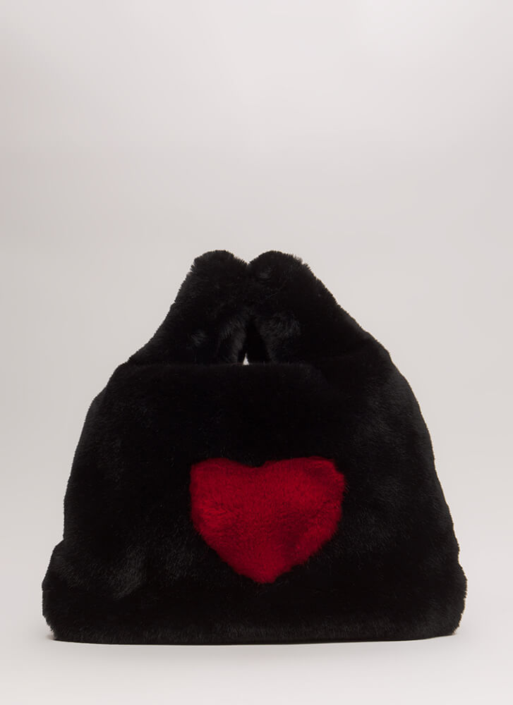 Wear Your Heart On Your Furry Tote Bag BLACK (Final Sale)