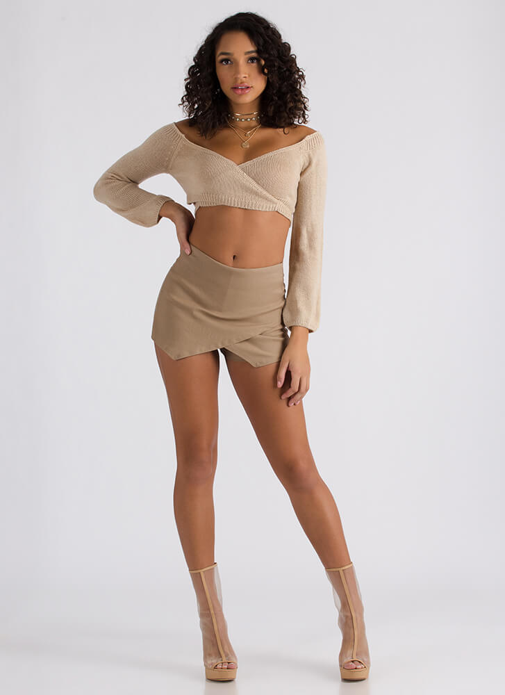 The Wrap Game Cropped Sweater Top TAUPE