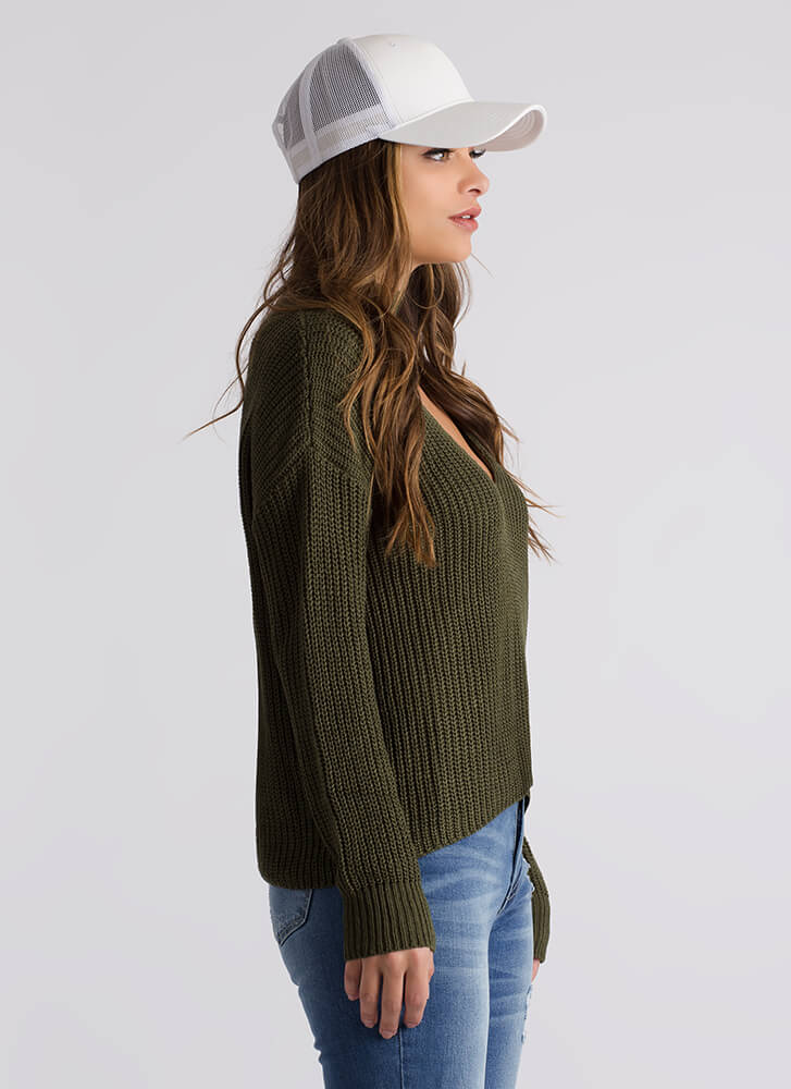 Wide Open Spaces Knit Choker Sweater OLIVE