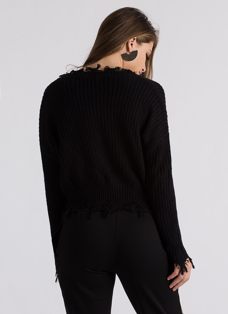 On Edge Distressed Knit Sweater BLACK