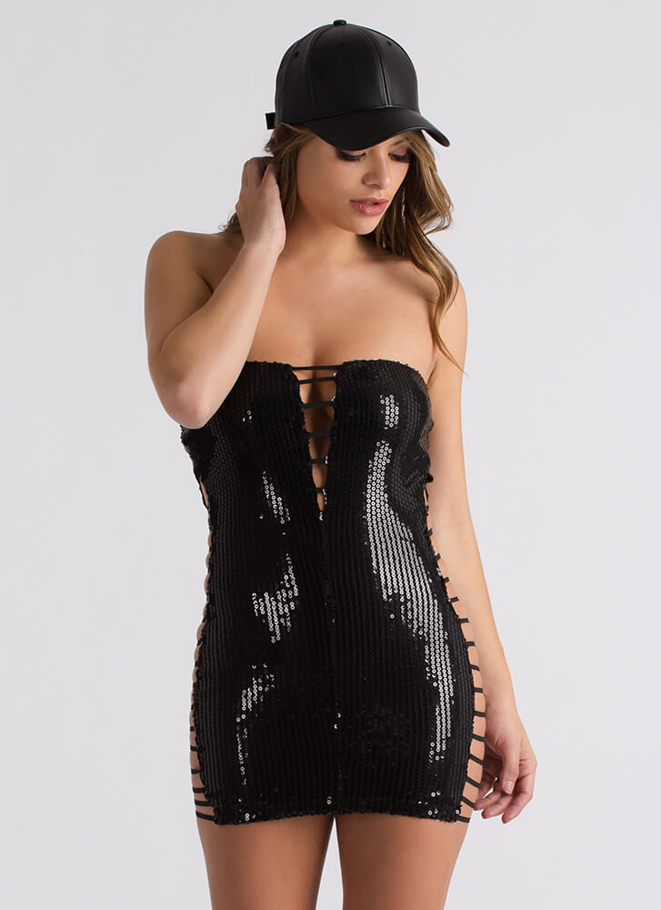 Night Life Strappy Sequined Tube Dress BLACK