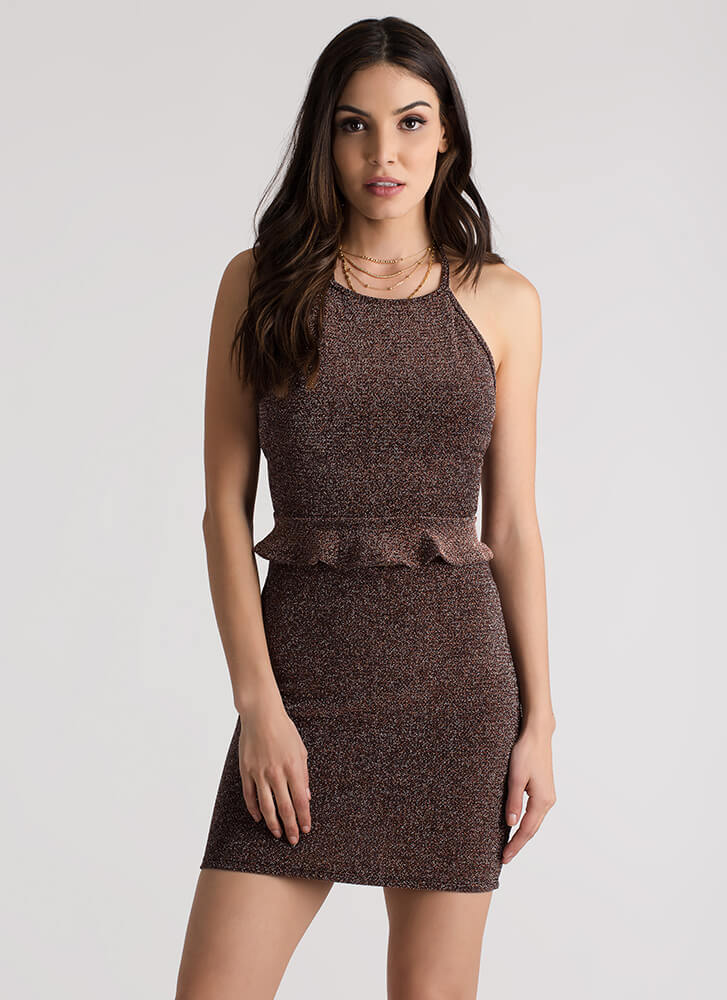 Greater In Glitter Halter And Skirt Set BRICK