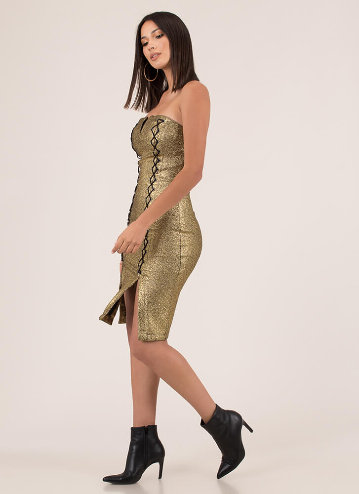 Laced With Magic Strapless Foiled Dress GOLD