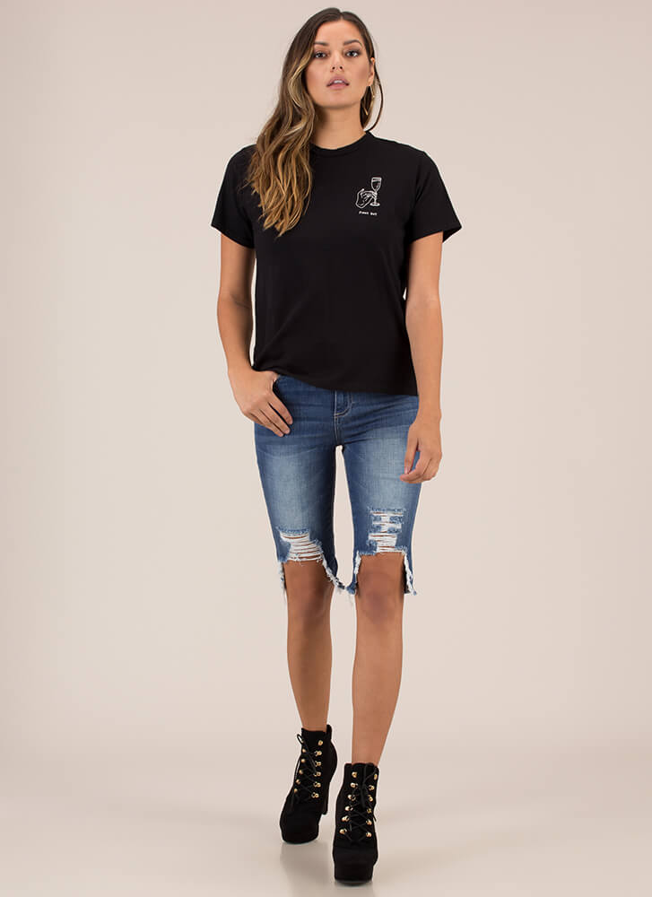 Staying Classy Pinky Out Graphic Tee BLACK (Final Sale)