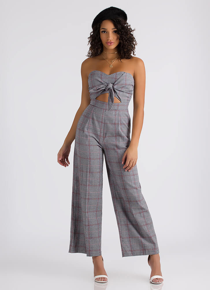 Knot Myself Today Plaid Palazzo Jumpsuit BLACKRED (Final Sale)