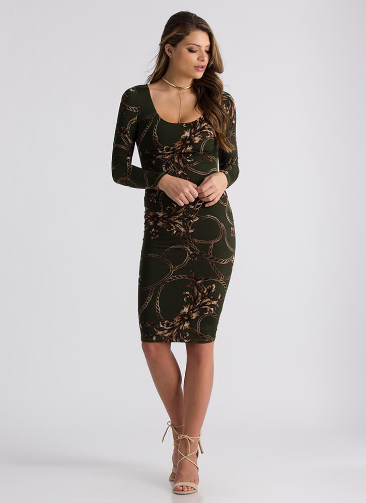 Show Me The Ropes Floral Print Dress OLIVE (Final Sale)